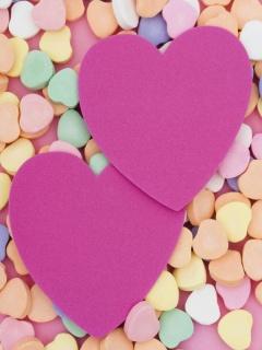 Картинка два розовых сердца (two pink hearts) 240x320 для смартфона