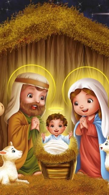 Картинка Рождение Иисуса (Birth of Jesus) 360x640 для телефона