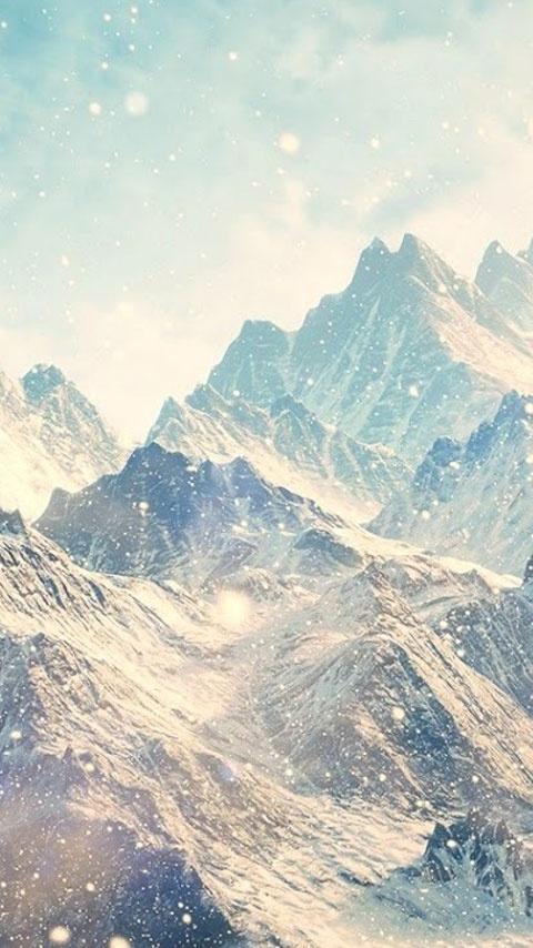Картинка заснеженные горы (snow covered mountain) 480x854 скачать бесплатно