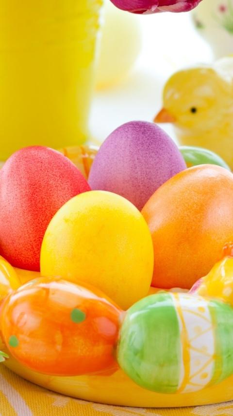 Картинка красочные пасхальные яйца (Colorful easter eggs) 480x854 для телефона