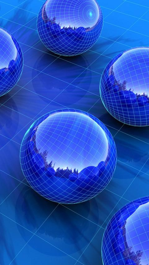 Картинка синие шары (Blue balls) 480x854 скачать