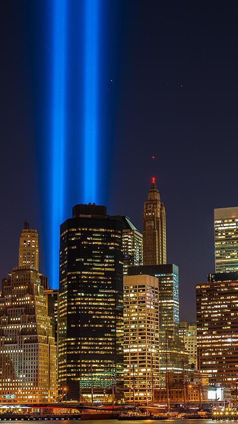 Картинка силуеты башен близнецов в Нью Йорке 480x854