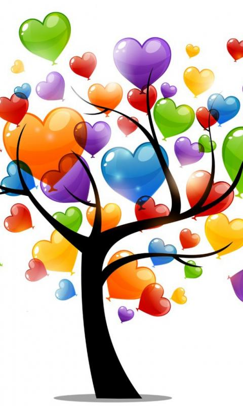 Картинка дерево любви 480x800