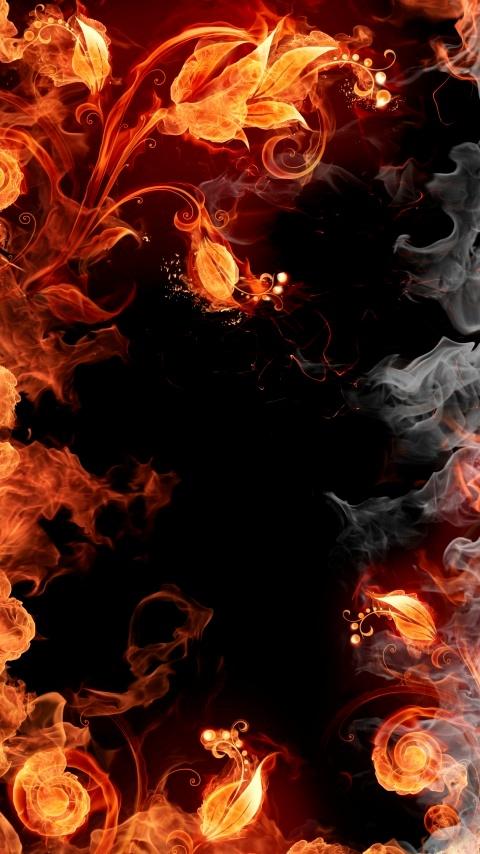 Картинка fiery flowers 480x854