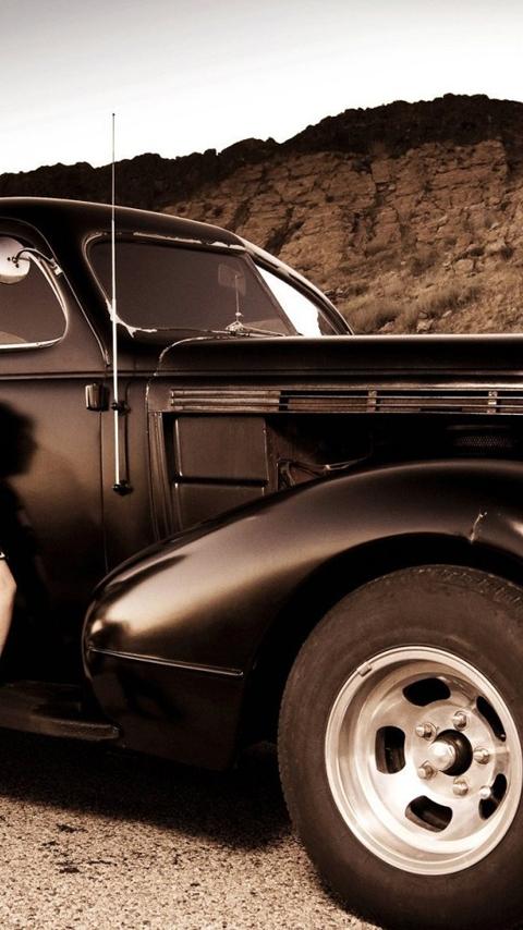 Картинка винтажный автомобиль 480x854
