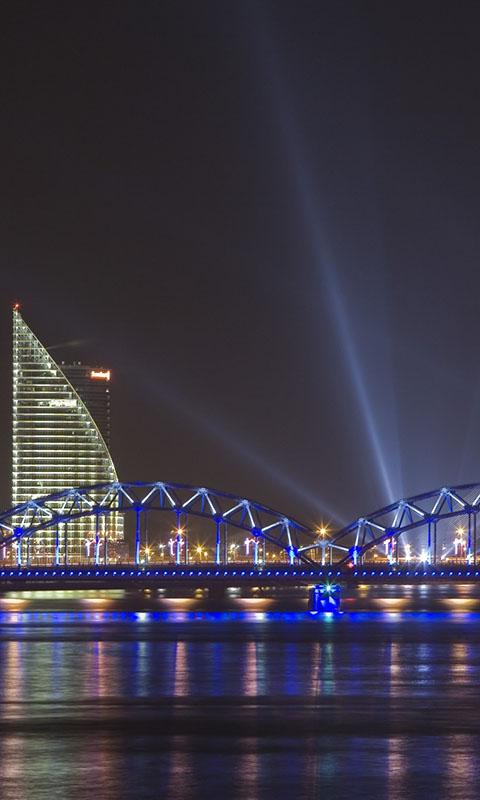 Картинка ночной город, мегаполис, огни, мосты 480x800 скачать