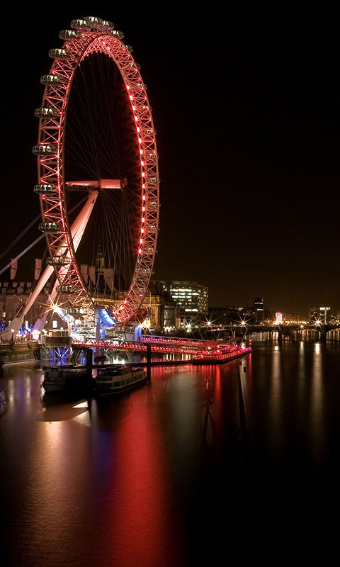 Картинка ночь, город, огни, Река, Колесо, Лондон 480x800