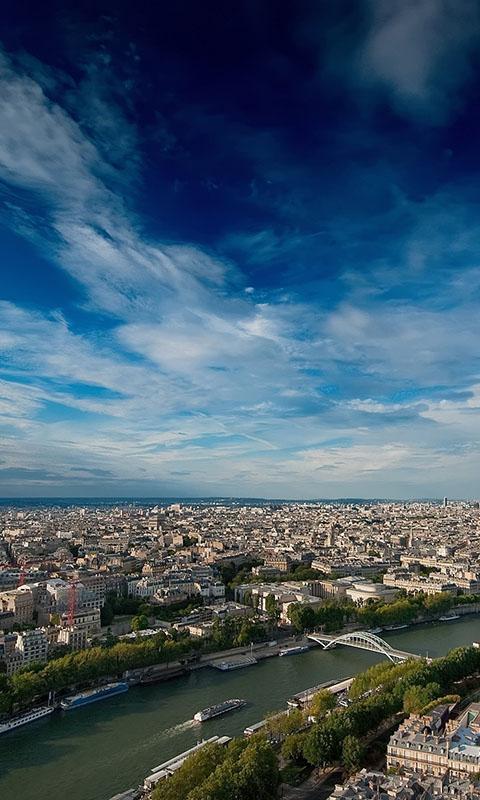 Картинка река, дома, небо, город, облака, Париж на телефон 480x800