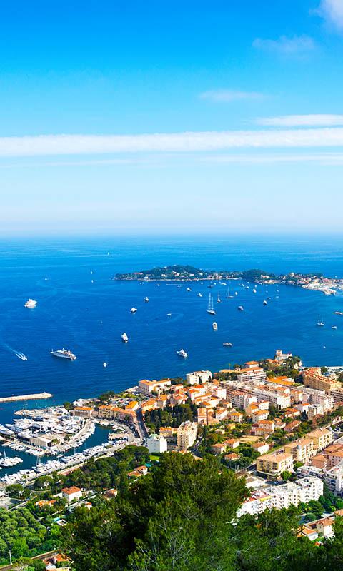 Картинка Франция, небо, море, город, катера, лодки, побережье, вид сверху, Nice 480x800 для телефона