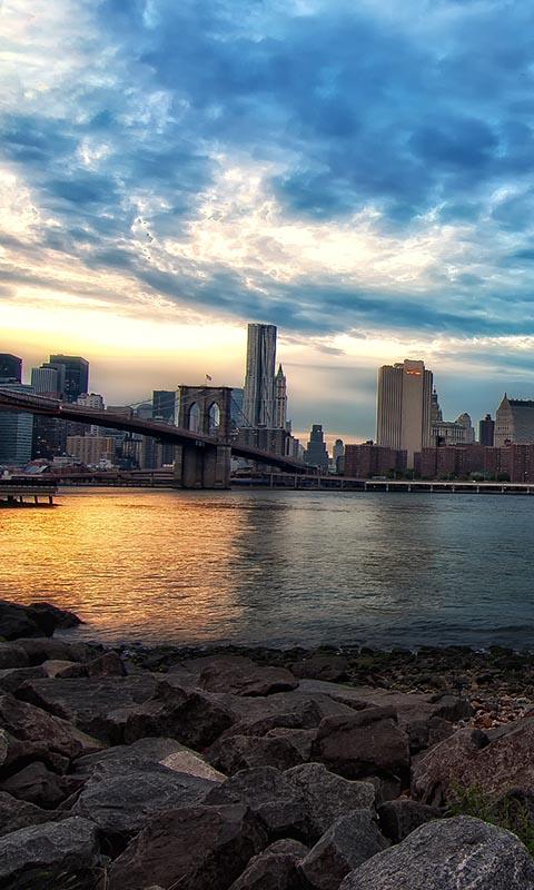 New_York, мосты, город, камни, вода, NYC, USA, city, Нью Йорк 480x800 бесплатно