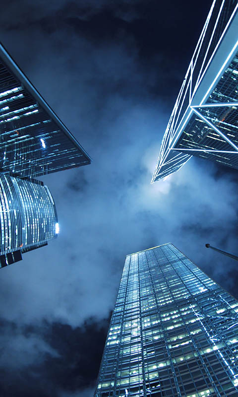 Картинка ночь, Hong Kong, город, здания, небоскребы, небо, Китай, высотные 480x800