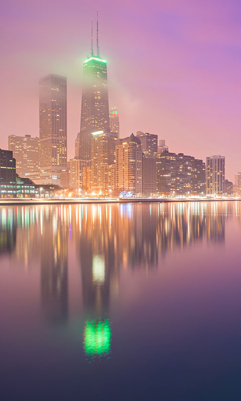 Картинка огни, buildings, город, озеро, skyscrapers, chicago, night lights, чикаго, lake 480x800