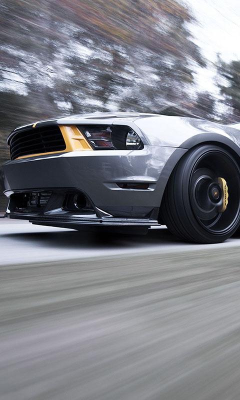 Картинка Mustang, мускул кар, Ford, скорость, колесо, передняя часть, фара, форд, silvery, мустанг 480x800 бесплатно