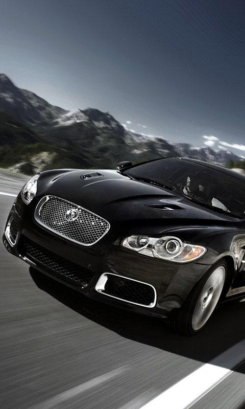 Картинка горы, Jaguar, автомобиль, черный, скорость 480x800 бесплатно скачать