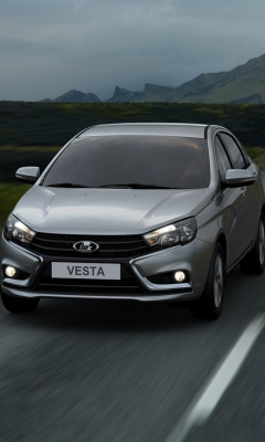 Картинка Лада Vesta, серый, горы, дорога, фары, трава 240x400