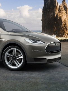 Картинка Tesla model X, фары, дорога, колесо, гора, море, серый 240x320