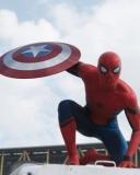 Картинка Первый мститель: Противостояние, спайдермен, щит, небо, фильм, 2016, боевик, фантастика, дисней 128x160