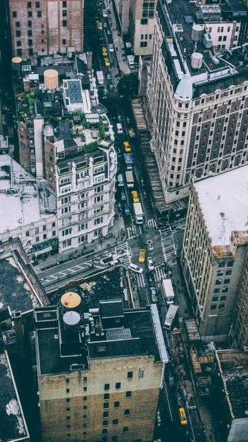 Картинка автомобили, улицы, Манхэттен, люди, крыши, Нью-Йорк, Соединенные Штаты, США, быт, город, дома 360x640 на телефон