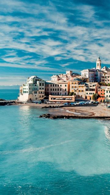 Картинка море, коммуна, небо, Италия, Больяско, регион Лигурия, облака, дома, пляж 360x640 для смартфона