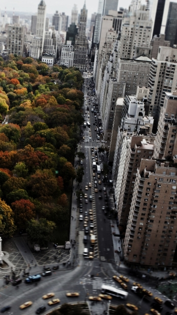 Картинка new york, street, clouds, amazing, sky, trees, USA, city, cars 360x640