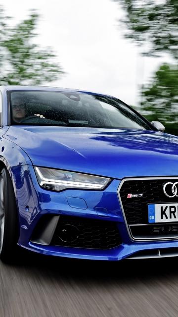 Картинка Ауди, RS 7, Sportback, автомобиль, Audi, синий, фара 360x640