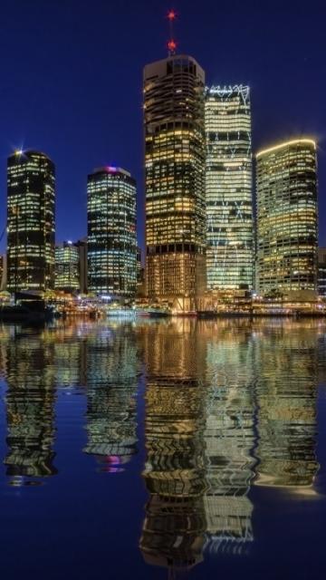 Подсветка, Брисбен, мегаполис, отражение, огни, небоскребы, Австралия, река, ночь 360x640 обои