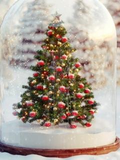 Зима, новогодняя елка, снег, рождество, шарики, ёлка, колпак, звезда 240x320 на телефон