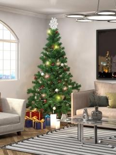 елка, новый год, игрушки, звезда, подарки, окно, картина, люстра, диван, кресло, интерьер, огни 240x320 картинка