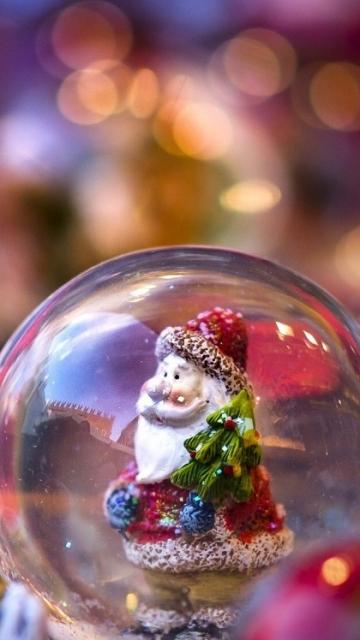 дед мороз, санта клаус, шар, елка, игрушки 360x640 картинка на телефон