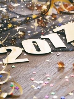 2017, Новый год, праздник, украшения, золотой 240x320 обои для телефона