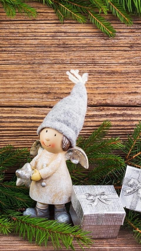 Веточки, два, елки, подвески, подарки, ангел, композиция, рождество, доски