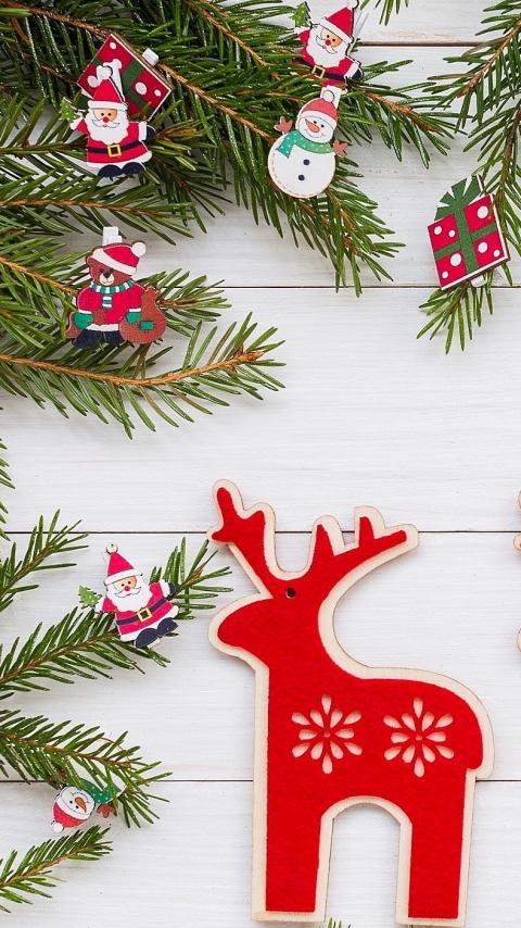 Олень, Веточки, Украшения, Рождество, Новый год